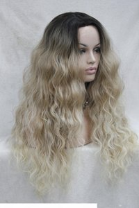 Hivision hot quality good synthetic black root to blonde ombre Lace Front wig long Wavy wigs