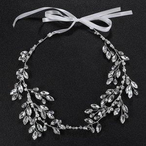 Slbridal Hecho a mano Rhinestones Rhinestones Cristales Perls Flower Wedding Tiara Diadema Nupcial Vid Accesorios para el cabello Dama de honor