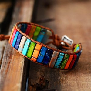 Chakra Bracelet Jewelry Handmade Multi Color Natural Stone Tube Beads Leather Wrap Bracelet Couples Bracelets Gifts