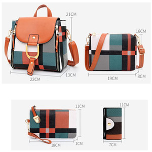 sets Women bags Luxury Quality Leather Backpacks 4 Pcs Shoulder Set Composite Girls Travel Back Bag Mochila Q1113