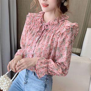 Pleated Floral Shirt Women's Blouse Fashion Ruffle Chiffon Shirt 2021 New Spring Autumn Shirt Bow Chiffon Girl Blouse