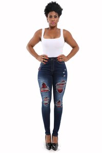 Ripped Sexy Skinny Jeans Fashion Designer High Waisted Slim Fit Denim Pants Biker Pencil Trousers For Ladies