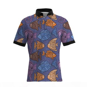 19SS New Style The Whole Body Fish Printing Men's Casual Polo Shirts Hot Sellers BIG SIZE Mens Designer T Shirts Loose Version