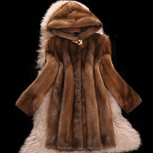 High Faux Mink fur Coat Female New Plus size 6XL Medium length Winter Hooded Tops Women Thicken Brown Mink Fur Coats T191128