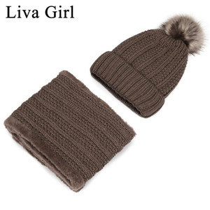Liva Girl Brand 2pcs Set Women Beanie+Scarf Pompom Fleece Warm Hats Knitted Scarf Solid Casual Cap Snow Ski Hat Beanies Scarves