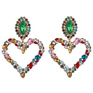 Hot Selling Heart Shaped Earrings Alloy Inlaid Rhinestones Retro Exaggerated Ear Drops Women Super Flash Dangle 3 Colors