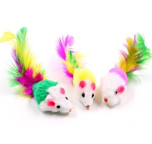 10pcs lot Colorful Soft Fleece False Mouse Toys For Cat Feather Funny Playing Pet Dog Cat Small Animals Feat jllIlQ eatout