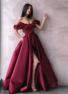 Vintage Off Shoulder Burgundy Evening Dresses A Line Plus Size Long Satin High Side Split Arabic African Formal Celebrity Prom Party Gowns