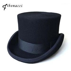 Fibonacci Sombreros Steampunk Victorian Victorian Formal Top Hat Black Wool Fieltro Sombrero Vintage Magician Fedoras Mad Hatter Presidente Bowler Cap1