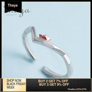 Thaya To Ride the Winds and Break The Waves Design Finger Ring Rose Gold s925 Silver Handmade Jewelery for Women Gift Y1124