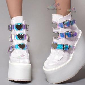 Doratasia Ins Kadınlar Takozlar Metal Toka Sonbahar Ayakkabı Marka Klasik Çizmeler Kadın Moda Lüks Platformu Ayak Bileği Çizmeler C1120
