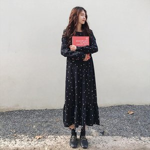 L 4XL Plus Size Women Maxi Dress Chiffon Long Sleeve Dot Printed Casual Loose Dresses Spring Autumn 2020 High Waist Vestidos