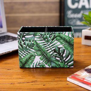 LINKWELL Fashion Tropical Palm Leaf Banana Green PU leather Pencil Pen Holder Desk Organizer Storage Box Case Back to School Z1123