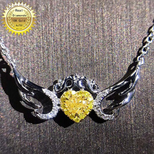18K gold necklace 0.13ct natural yellow diamond and 0.09ct white diamonds necklace