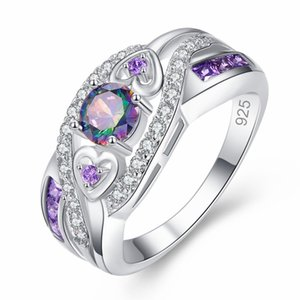 Colored purple heart ring Female round delicate ring Party holiday gift Hot new popular personality Accessories jewelry