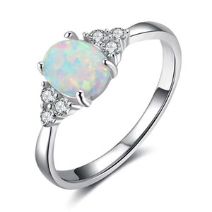 Engagement Wedding Ring In 925 Silver White Opal Ring Silver Women's Ring For Gift Party Jewelry