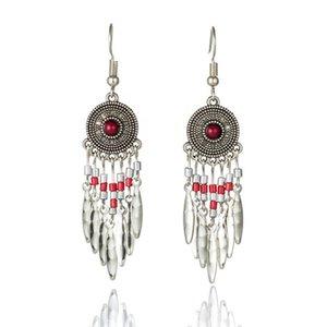 Vintage Silver Color Stones Beads Long Tassel Drop Earrings for Women Boho Retro Round Alloy Pendant Flower Ear Cuff Earring