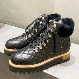 Winter-Wolle-Leder Knöchel Stiefel für Frauen bis Runway Pelzschuhe Frau britischen Plattform Schneeschuhe verzierte Lace botas altas mujer