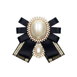 Vintage Ribbon Bow Tie Brooches Pin for Women Girl Lady Shirt Collar Elegant Brooch Pin Bow Knot Pearl Black Red Color