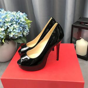 mode de luxe femme rouge fond stiletto hauteur talon talon peep toe robe chaussures chaussures en cuir verni cuir étanche plate-forme étanche cuir