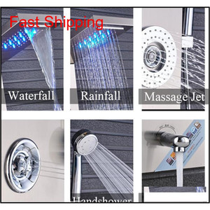 Brushed Nickel Stainless Steel 5-function Waterfall Led Rain Shower Panel W massage System Tub Spout W  Handsh qyljyf bdesports