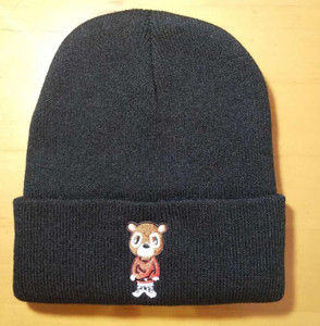 new autumn Winter Kanye West Embroidery Knitted Hip Hop Bear Beanies Hats Men Women Couple Cold Weather Keep Warm Cap Skullies