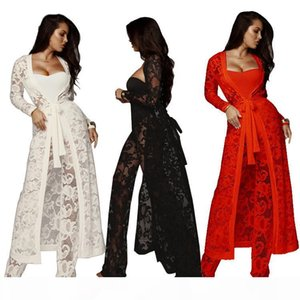 high quality wide leg pants top and pant sets wholesale hot sale women Autumn set lace fashion long pant set for woman