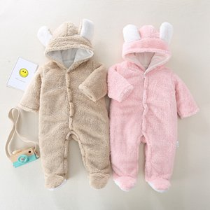 Newborn baby girl jumpsuit winter thick warm warm jumpsuit solid color hooded baby boy robe romper baby piece Romper out clothes 201105