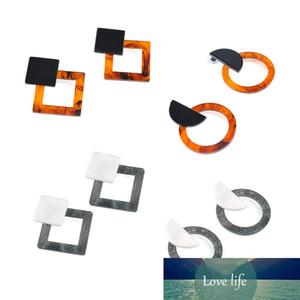 SUMENG New Fashion Jewelry Leopard Acrylic Resin Oval Dangle Earrings for Women Geometry Big Circle Square Earrings
