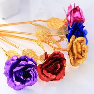 Goldene Folie Trim Rose Blume Lange Stamm Liebe Stand Rose Halter Base Für Valentinstag Muttertag Geburtstag LX4538