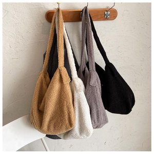 Soft Lambswool Shoulder Bags for Women Winter Totes Warm Plush Faux Fur Handbags and Purses Lady High Capacity Hand Bag 6529