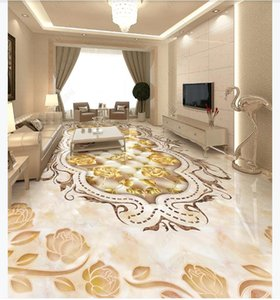 Customized Self adhesive waterproof floor painting wall stickers Marbled flower parquet floor tile 3D living room floor painting wall papers
