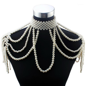 Florosy Long Bead Chain Chunky Simulated Pearl Necklace Body Jewelry for Women Costume Choker Pendant Statement Necklace New1