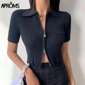 APROMS WHITE RIPBED gestrickte Pflaster-Top-weibliche Hohe Taille Kurzarm Basic T-Shirt 2020 Doppelreißverschlüsse T-Shirt für Frauen Kleidung