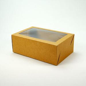 Kraft schwarz geschenk verpackung kasten mit fenster karton papierbox party kuchen backen kekse süßigkeitenboxen ccd3509