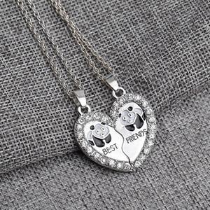 European and American fashion Best Friends series panda suit pendant necklace