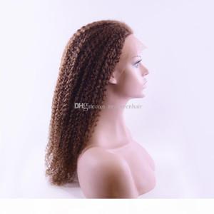 Silk top completo lace peruca loira kinky encaracolado para as mulheres com cabelo de bebê Glueless Brazilian Virgem Human Wigs em estoque