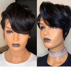 Lace Front Human Hair Short Bob Wigs Pixie Cut Ombre Color 1B 27 613 Blonde Black Straight For Women Brazilian Remy Hair