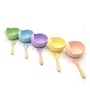 Силиконовая интегрированная всасывающая чаша ложка костюма не скольжения столовая посуда дети детские комплементарные продукты питания аксессуарные чаши нанесены 12 8YB N2