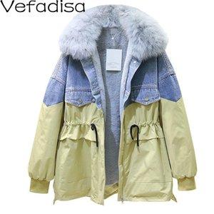 VEFADISA COLLAR DE PIEL Denim Patchwork Parka Woman Winter 2021 Cintura con cordón de algodón acolchado con espalda blanca color amarillo QYF1055