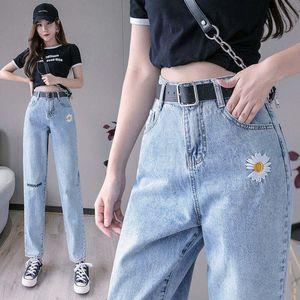 Jbersee Woman Jeans Vintage High Waist Wide Leg Embroidery Denim Trousers Women korean Loose Fashion Casual Pants Women Jeans A1112