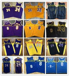 Vintage Mens Basketball Jerseys Authentic Shaquille 34 O Neal Bordado Earvin Johnson 32 Jerseys de baloncesto Ganado Edición Swingman Shirt