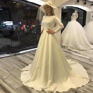 Vintage Satin A Line Wedding Dresses 2021 Jewel Long Sleeves Sweep Train Lace Up Back Wedding Dress Bridal Gowns Vestido De Novia