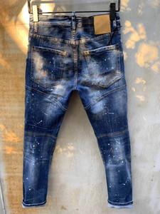 Moda Erkek Sıkıntılı Yırtık Biker Jeans Rahat Pantolon Slim Fit Motosiklet Biker Denim Moda Tasarımcısı Pantolon Hip Hop Erkek Kot
