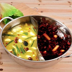 LANLAN 34 CM Acero inoxidable Mandarin Duck Pot 2 Grip 2 Taste Hot Pot Cocina Herramienta de cocina -35 T200523