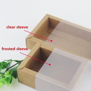20pcs Frosted Sleeve Kraft Paper Drawer Boxes Clear Sleeve Black White Handmade Soap Craft Box for Wedding Party Gift Packaging