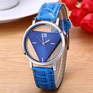 2020 Ladies Watches Fashion Designer Women Triangular Watches Unique Hollowed-out Dial Quartz Blue Leather Band Reloj