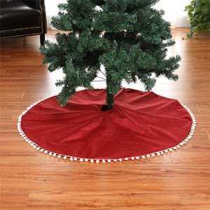 50inch 127cm Pure Red Christmas Tree Skirt Flax Linen Cloth White Ball Edge High Quality Home Decoration New Year Decor YWYW05 Z1128