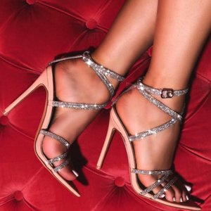 Hot Sale- Big size 41 42 Women diamond Sandals Transparent Heels Pointed Silver Stripper Sandals Party Club Shoes Summer High Heels