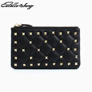 Estelle Wang Frauen Echtes Leder Brieftasche Super dünnes Rindsleder Kleine Reißverschluss Kurze Niet Null Geldbörse Kartenhalter Key Pouch1